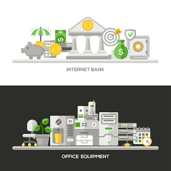 Office equipment concepts compositions set