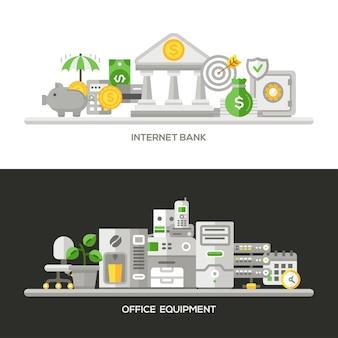 Office equipment concepts compositions set Premium Vector