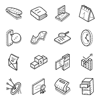 Office equipment hand drawn icons pack