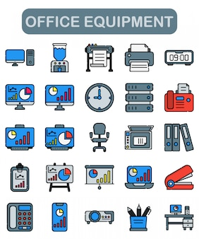 Office equipment icons set in lineal style