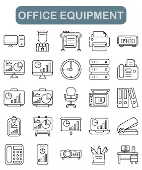 Office equipment icons set in outline style