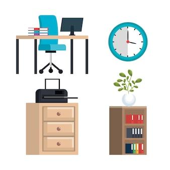 Office equipment set icons vector illustration design