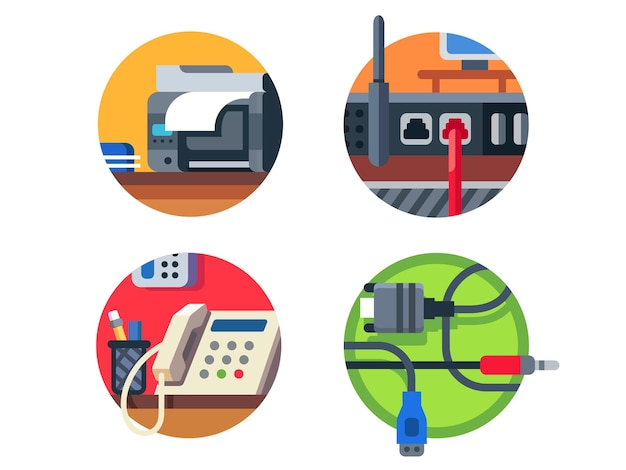 Office equipment set. printer and router, phone or cable.  illustration