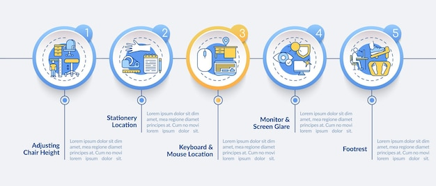 Советы по эргономике офиса инфографики шаблон иллюстрации