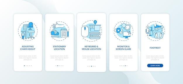 개념이있는 모바일 앱 페이지 화면을 온 보딩하는 사무실 인체 공학 팁