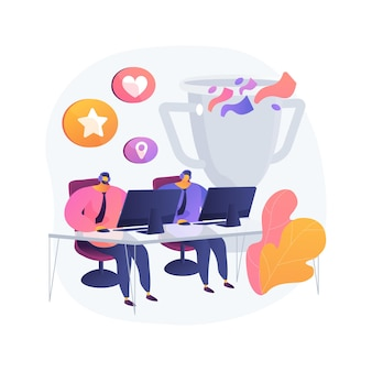 Illustrazione di concetto astratto di office esport concorrenza. torneo di videogiochi, divertimento in ufficio, competizione a squadre, miglior giocatore, arena di battaglia, streaming live su internet