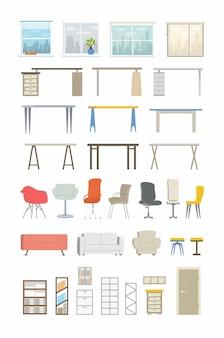Office essentials-현대적인 색상 벡터 평면 아이콘을 설정합니다. 다양한 책상, 의자, 창문, 시티뷰, 커튼, 소파, 소파, 안락의자, 문, 서랍, 선반, 책, 폴더, 랙마운트 캐비닛