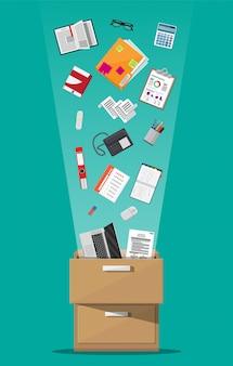 事務用家具。ケース、フォルダー付きボックス、ドキュメントペーパー、カレンダー、電卓、ラップトップと鉛筆、眼鏡、本、リングバインダー、電話。キャビネット、ロッカー引き出しフラットデザインのベクトル図