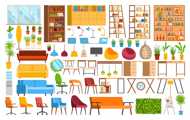 Office furniture, coworking space  illustration set, cartoon collection of interior elements for office worker icons  on white