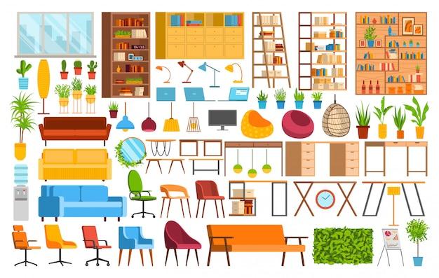 オフィス家具、コワーキングスペースイラストセット、白のオフィスワーカーアイコンのインテリア要素の漫画コレクション