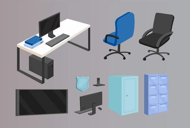 Набор плоских цветных объектов офисной мебели