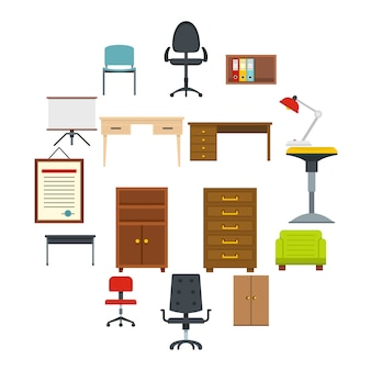 Office furniture icons set in flat style