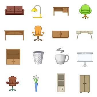 Office furniture interior icons set