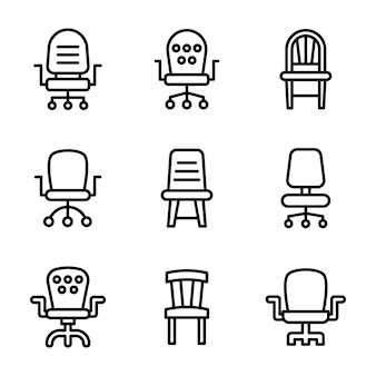 Office furniture interior line icons