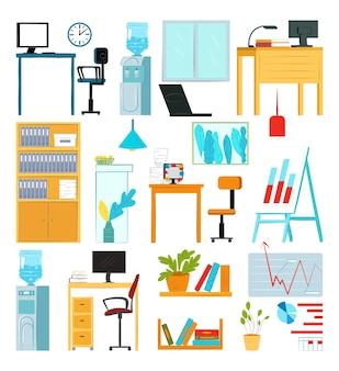 白いセット、ベクトルイラストで隔離のオフィス家具。テーブル、コンピューターアームチェア、ランプを備えた部屋のインテリアデザイン。現代の本棚、クーラー、オブジェクトのグラフ、ウィンドウコレクション。