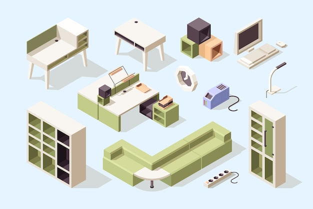 Офисная мебель. изометрические стулья, столы, столы, диваны, шкафы, инструменты для коллекции деловой элегантной мебели. офисная мебель для бизнеса, книжная полка и стол, стол для иллюстрации интерьера