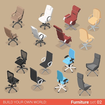 Office furniture set chair seat armchair stool recliner lounge element flat creative interior objects collection.