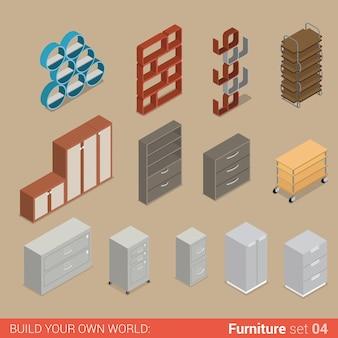 Комплект офисной мебели шкаф, папка, книжная полка, шкаф для хранения, шкаф, сундук, плоский творческий интерьер, коллекция предметов.