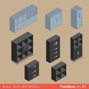 Комплект офисной мебели шкаф, папка, полка, шкаф, шкаф, шкаф, шкафчик, ящик, элемент, плоский, изометрический
