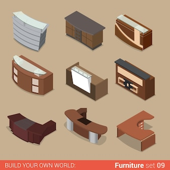 Office furniture set reception boss manager table room element flat