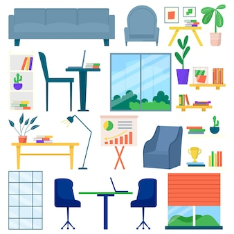 オフィス家具セット、ベクトルイラスト。テーブルデザイン、アームチェア、作業室のインテリア用のモダンなデスク、白で隔離。ソファ、ランプ