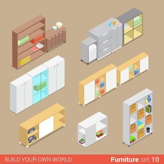 Office furniture set <<zzzzcupboard folder shelf storage closet cabinet chest locker element flat