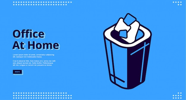 Office at home isometric website design with litter bin