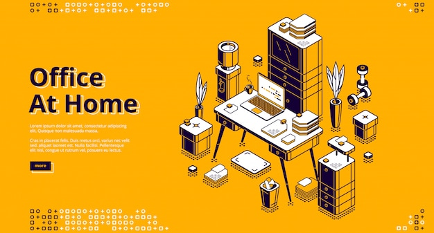 Office at home, workplace isometric banner