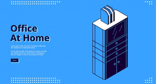 Office at home, workplace isometric landing page