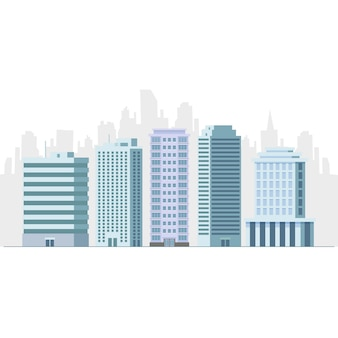 Office and hotel building skyscraper flat vector illustration