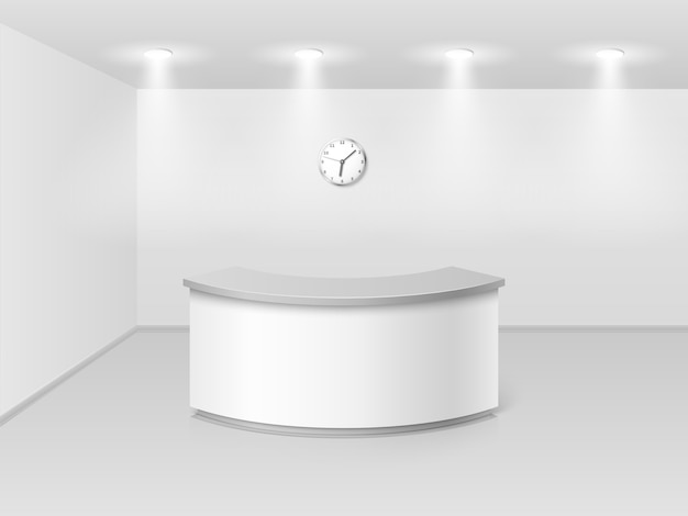 Office or hotel interior with reception counter desk 3d vector illustration