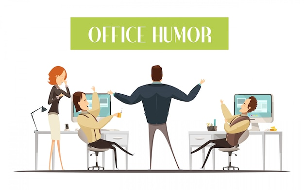 Office humor design in cartoon style with laughing men and woman