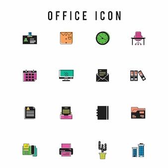 Ufficio icona set