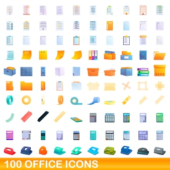 Office icons set. cartoon illustration of  office icons  set  on white background