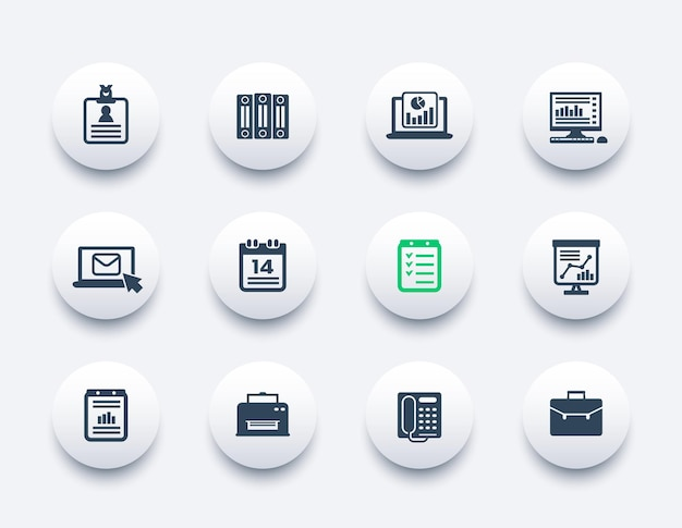 Office icons set, documents, reports, folders, mail, schedule and fax