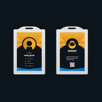 Office id card template with gradient design