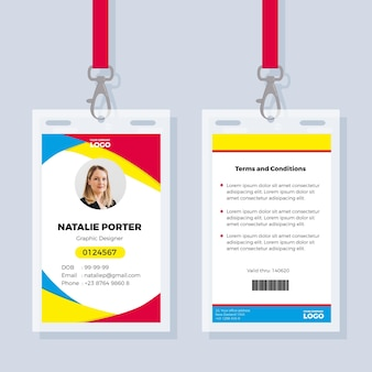 Office id card template with photo