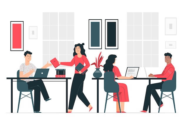 In the office illustration concept