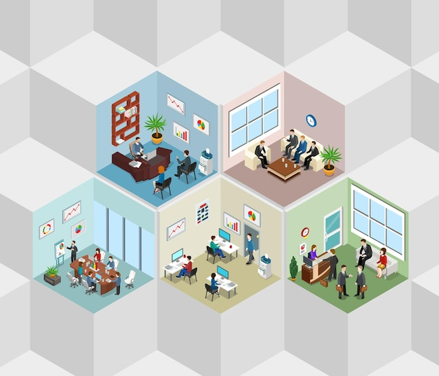 Office interior cells flat isometric