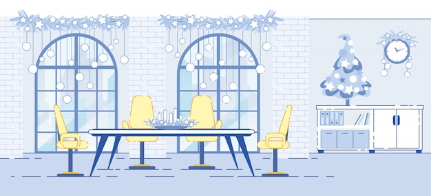 Office interior christmas decorations flat illustration
