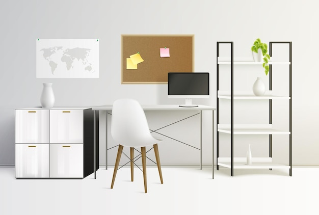 Office interior colored and realistic composition room fully equipped in the office illustration