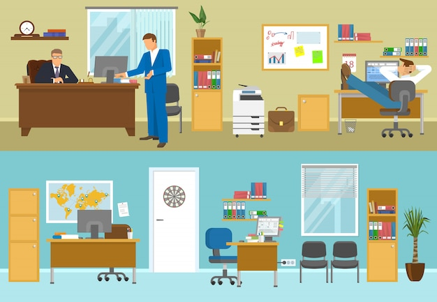 Office interior compositions with businesspersons in beige room and empty workplaces with blue walls isolated vector illustration