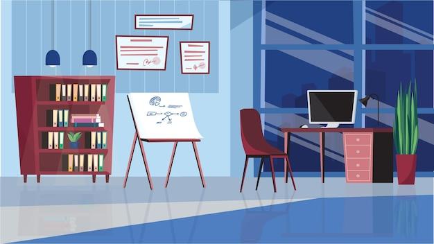 フラット漫画デザインのオフィスインテリアコンセプト。ワークデスク、椅子、デスクトップコンピュータ、プレゼンテーションボード、本棚、壁の証明書を備えた従業員の職場。ベクトルイラスト水平背景