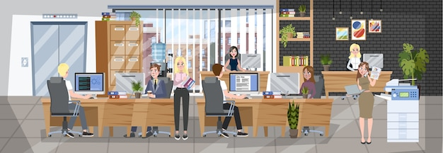 Office interior. coworking company, workplace for freelance