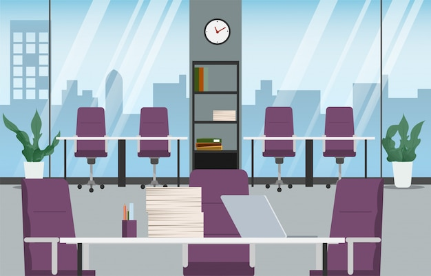 Office interior design. scene of workplace office room.