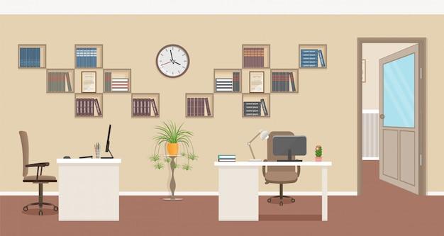 Дизайн интерьера офиса с мебелью и открытой дверью в коридор.
