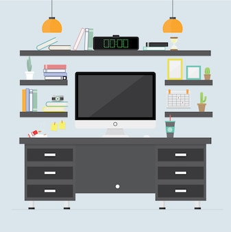 Office interior. detail room interiors with furniture vector flat illustration