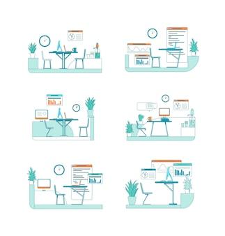 Набор офисных интерьеров плоский цвет сцены. стол с компьютером. работа над бизнес-проектом. корпоративное пространство изолировало иллюстрацию шаржа для коллекции веб-графического дизайна и анимации
