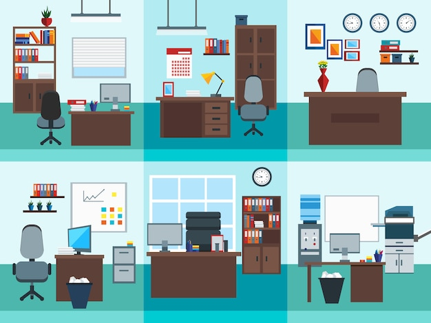 Office interior icon set