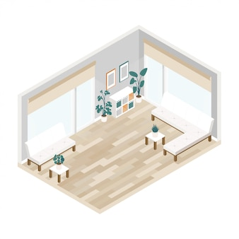 Office interior of large lobby in isometric